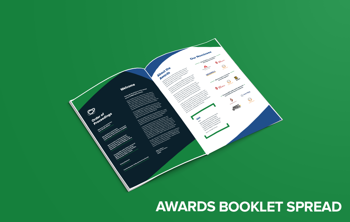An image of the Perth marketing agency, Gilligan groups Awards Booklet spread for AAMEG